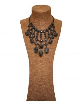Collier perles à facettes - Noir