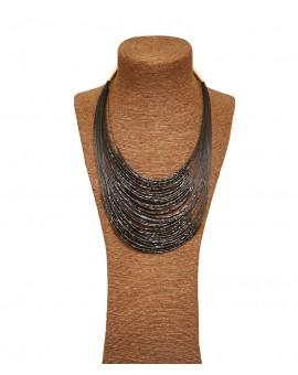 Collier multi-fils nylon perles noires