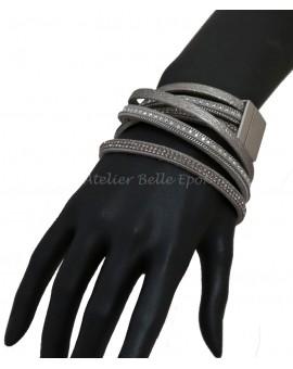 Bracelet multi tours et multi rangs tons gris