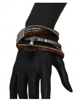 Bracelet multi tours et multi rangs tons gris/marron/orangé