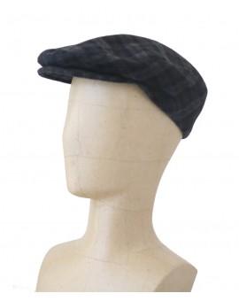 Vue générale - Casquette anglaise noir à rayures grises