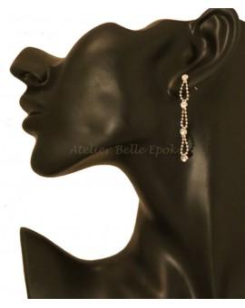 Boucles d'oreilles pierre à facettes sur chaînette