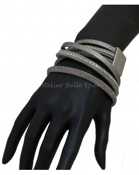 Bracelet multi tours et multi rangs tons gris