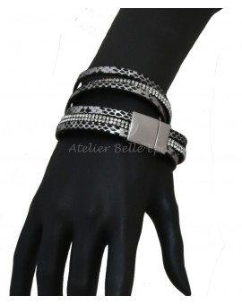 Bracelt multi tours et multi rangs tons gris/noir
