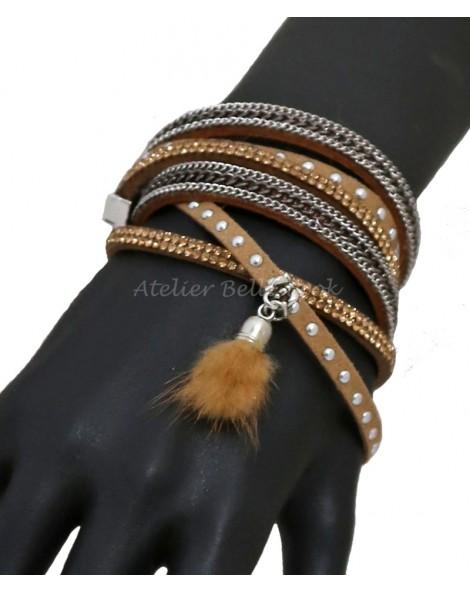 Bracelet multi tours et multi rangs tons beige/miel chainette pompon