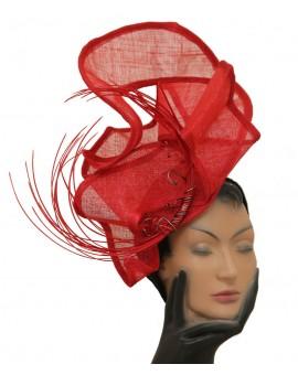 Parure de tête en sisal rouge