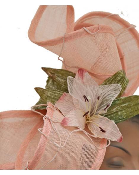 Parure de tête en sisal rose
