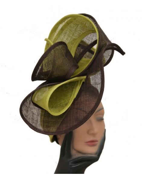 Parure de tête en sisal vert et marron
