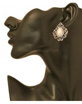 Boucles d'oreilles 1/2 perle strass