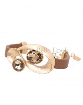 Bracelet cuir cristaux bruns