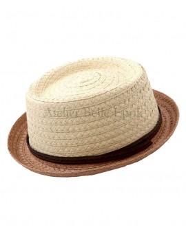 Chapeau paille papier beige et marron