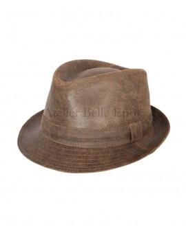 Chapeau TRILBY Cuir vielli marron
