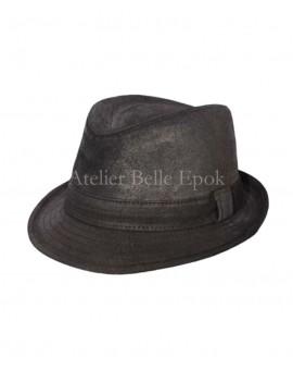 Chapeau TRILBY Cuir vielli noir
